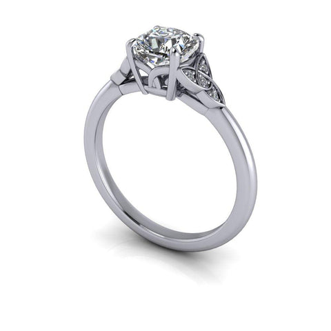 1.05 ctw Cushion Cut Lab Grown Diamond Engagement Ring Trinity Knot Ring-Bel Viaggio Designs
