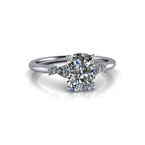 1.85 ctw Elongated Cushion Cut & Trillion Five Stone Moissanite Engagement Ring-Bel Viaggio Designs