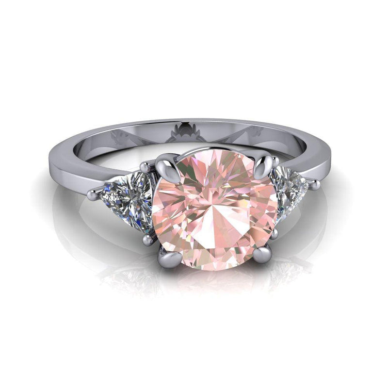 1.65 ctw Morganite & Diamond Trillions Three Stone Engagement Ring-Bel Viaggio Designs