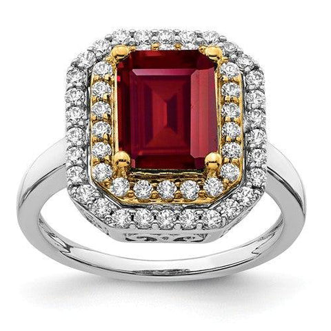 2.93 CTW Lab Grown Diamond Ring Emerald Cut Ruby Halo Ring-Bel Viaggio Designs