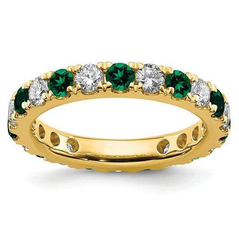 2.00 CTW Lab Grown Diamond Eternity Ring with Green Emeralds-Bel Viaggio Designs