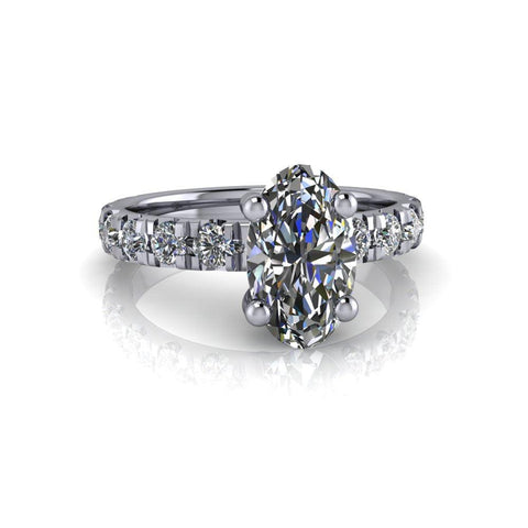 3.12 ctw Elongated Oval Forever One Moissanite & French Set Diamond Engagement Ring-Bel Viaggio Designs