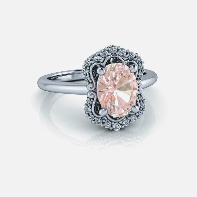 1.60 ctw Oval Morganite Engagement Ring Diamond Engagement Ring/Bridal Set-Bel Viaggio Designs
