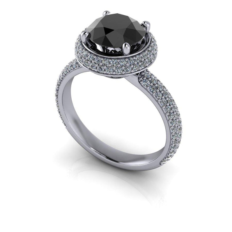 2.00 ctw Black Diamond Pave Halo Engagement Ring-Bel Viaggio Designs