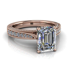 2.00 CTW Emerald Cut Forever One Moissanite Vintage Style Engagement Ring-Bel Viaggio Designs, LLC