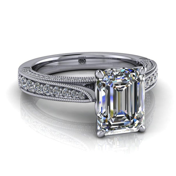 2.00 CTW Emerald Cut Forever One Moissanite Vintage Style Engagement Ring-BVD