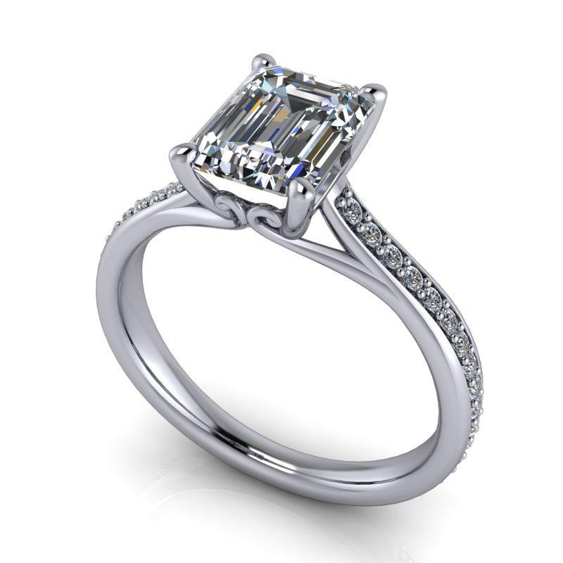 2.00 CTW Forever One Moissanite Emerald Cut Engagement Ring-Bel Viaggio Designs