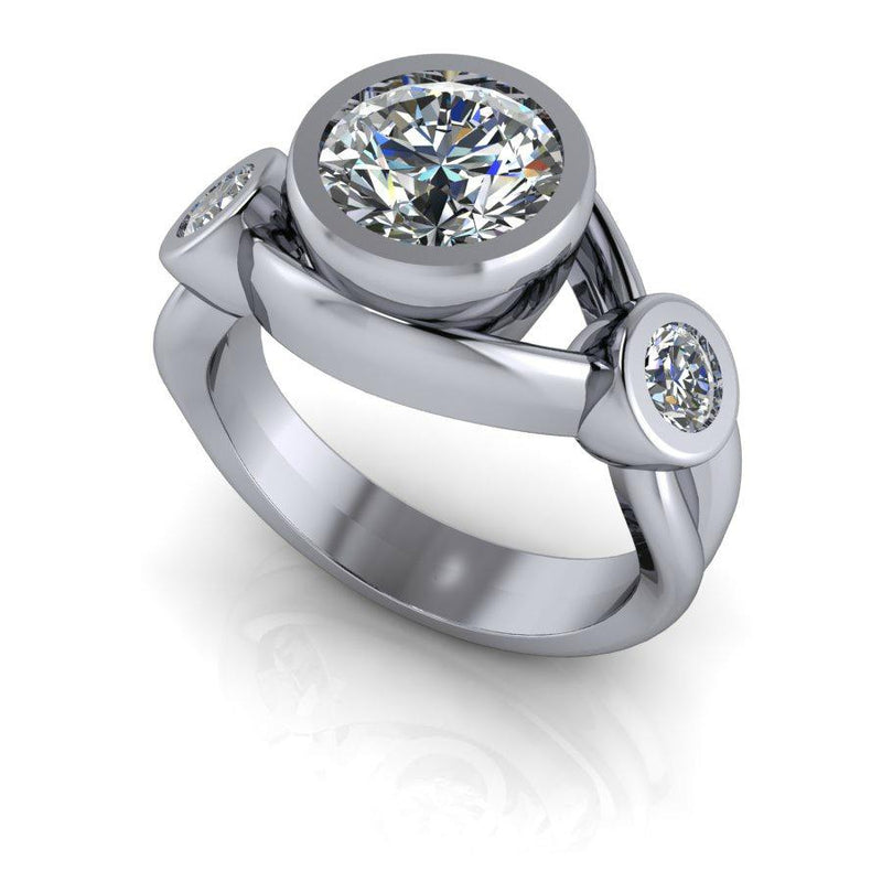 2.00 ctw Forever One Moissanite Three Stone Engagement Ring-Bel Viaggio Designs
