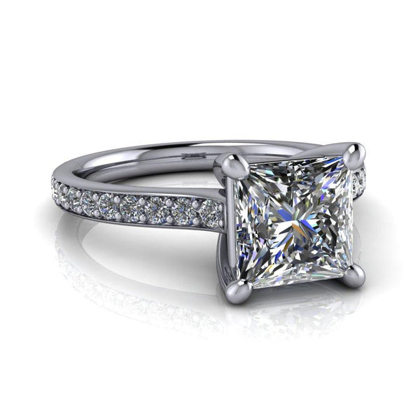 2.00 CTW Princess Cut Classic Engagement Ring Lab Grown Diamond Ring-Bel Viaggio Designs