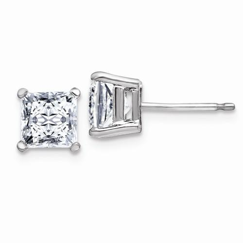 2.00 CTW Princess Cut Moissanite Stud Earrings, DEF Color-Bel Viaggio Designs