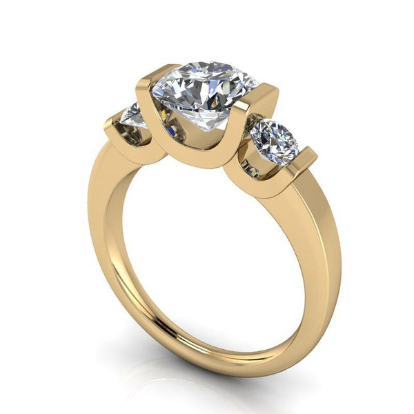 2.00 CTW Round Forever One Moissanite Tension Set Three Stone Ring-Bel Viaggio Designs