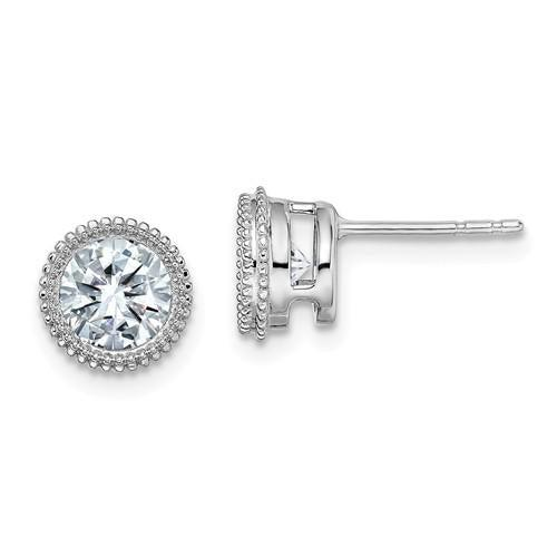 2.00 CTW Round Moissanite Bezel Set Earrings, DEF Color-Bel Viaggio Designs