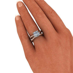 2.00 CTW Split Shank Rope Shank Cushion Cut Engagement Ring, Stone Options-BVD