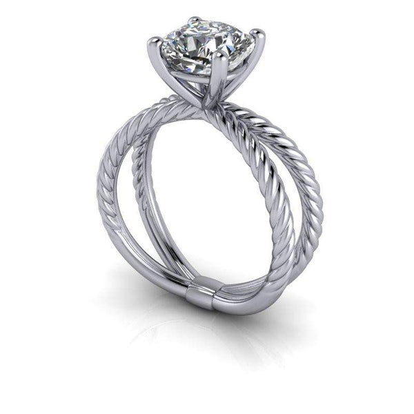 1.70 CTW Split Shank Rope Shank Forever One Cushion Cut Engagement Ring-Bel Viaggio Designs