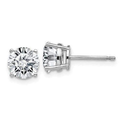 2.00 CTW Stud Earrings - 14kt Gold Round Moissanite 4-Prong Basket Post Earrings-BVD