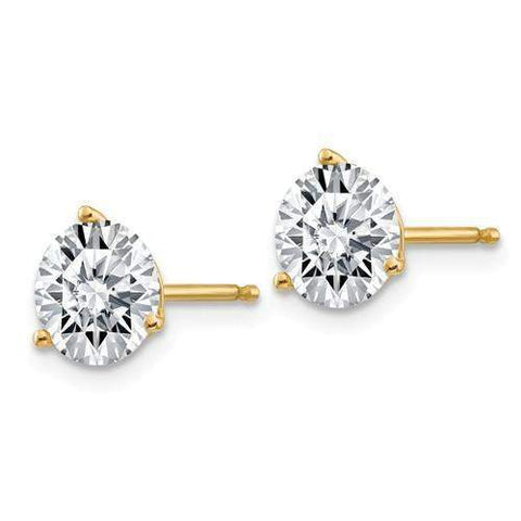 2.00 CTW Stud Martini Earrings - 14kt Gold Round Moissanite 3-Prong Post Earrings-BVD