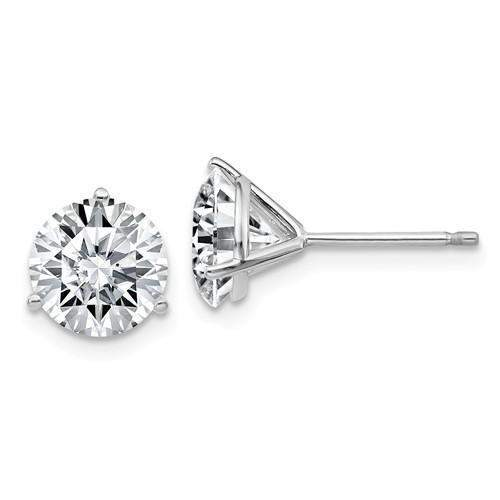 2.00 CTW Stud Martini Earrings - 14kt Gold Round Moissanite 3-Prong Post Earrings-Bel Viaggio Designs