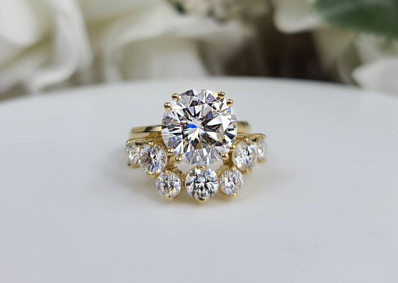 8.11 ctw Round Colorless Moissanite Bridal Set READY TO SHIP-Bel Viaggio Designs