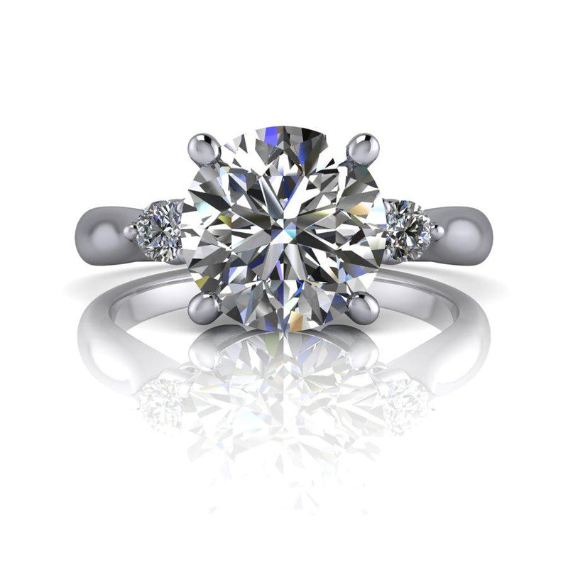 2.03 CTW Moissanite Three Stone Engagement Ring, DEF Color-Bel Viaggio Designs