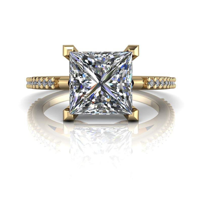 2.03 CTW Princess Cut Forever One Moissanite Cathedral Engagement Ring-Bel Viaggio Designs