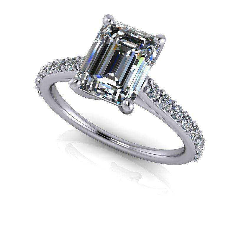 2.04 CTW Cathedral Emerald Cut Moissanite Engagement Ring-Bel Viaggio Designs, LLC