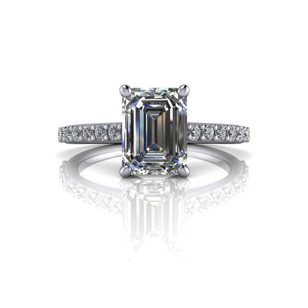 2.04 CTW Cathedral Emerald Cut Moissanite and Diamond Engagement Ring-Bel Viaggio Designs