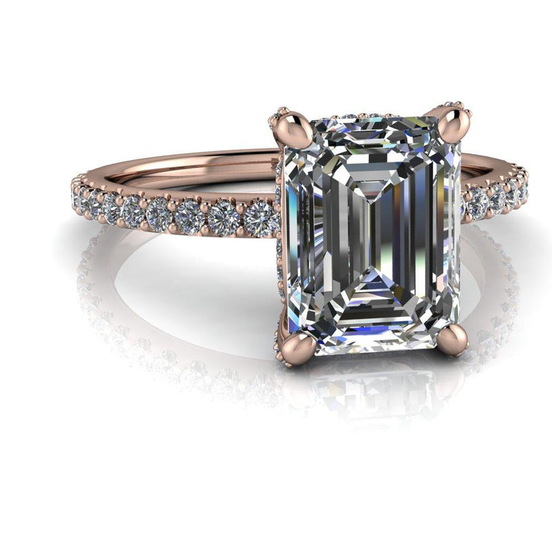 2.04 CTW Emerald Cut Forever One Moissanite Engagement Ring-Bel Viaggio Designs
