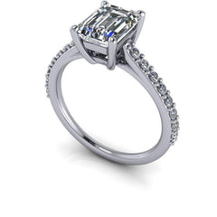 2.04 CTW Forever One Moissanite Emerald Cut Cathedral Engagement Ring-Forever One-Bel Viaggio Designs-Bel Viaggio®