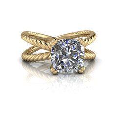 2.06 CTW Rope Style Split Shank Engagement Ring - Forever One Cushion Cut Ring-BVD