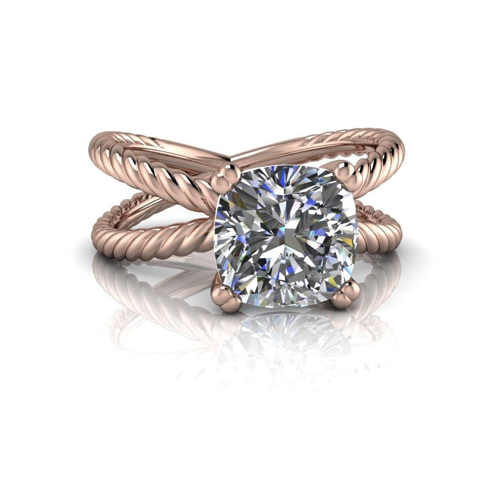 2.06 CTW Rope Style Split Shank Engagement Ring - Forever One Cushion Cut Ring-Bel Viaggio Designs, LLC