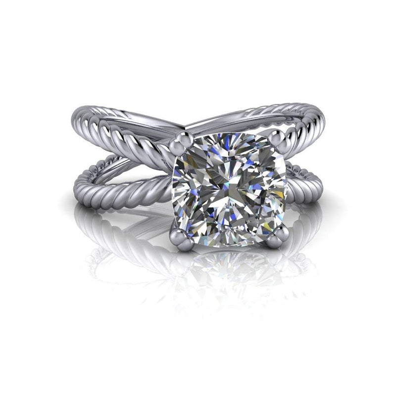 2.06 CTW Rope Style Split Shank Engagement Ring - Forever One Cushion Cut Ring-Bel Viaggio Designs