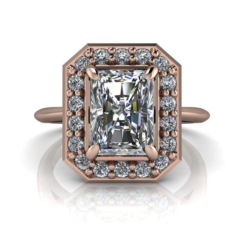 2.08 CTW Radiant Cut Forever One Moissanite Halo Engagement Ring-BVD