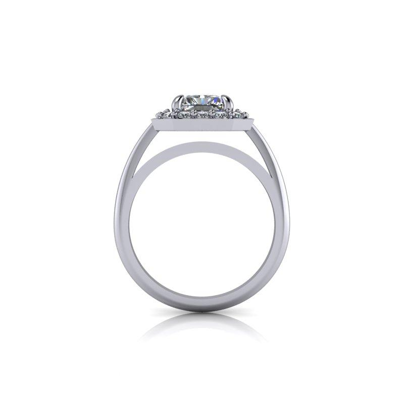 2.08 CTW Radiant Cut Forever One Moissanite Halo Engagement Ring-Bel Viaggio Designs