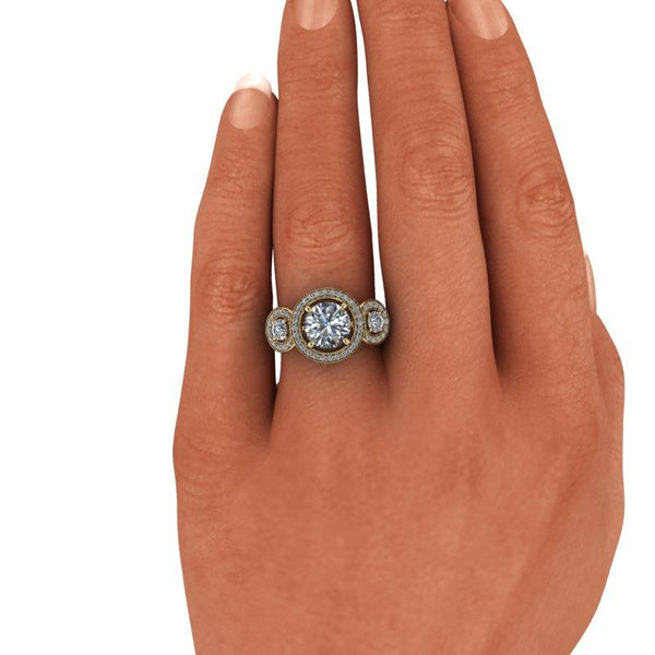 2.09 CTW Three Stone Halo Anniversary Ring, DEF Color-Bel Viaggio Designs