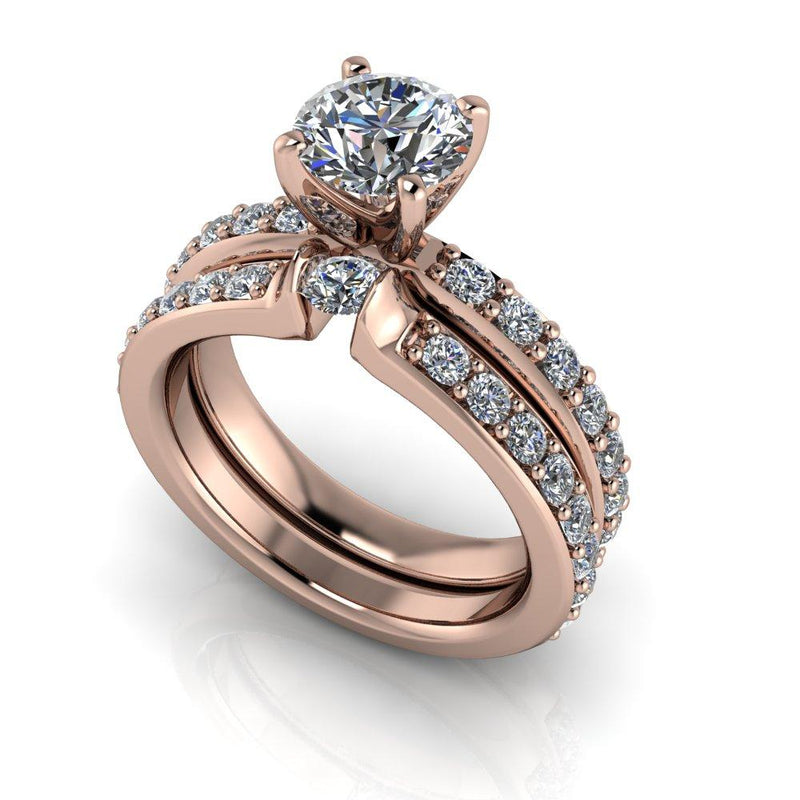 2.10 ctw Charles & Colvard Hearts and Arrows Round Engagement Ring Bridal Set-Bel Viaggio Designs