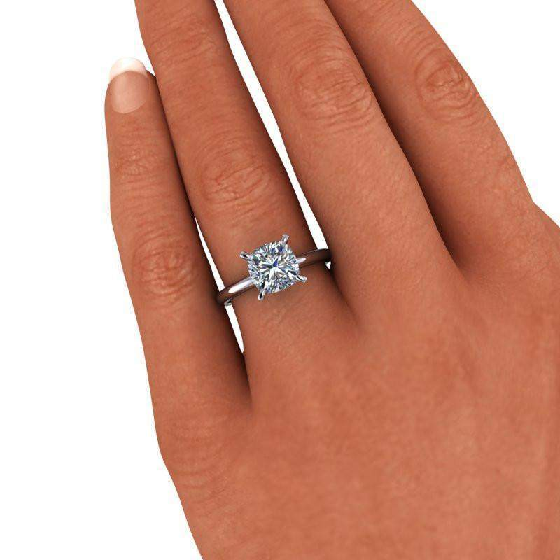 2.10 CTW Cushion Cut Forever One Moissanite Engagement Ring - Insieme Bridal Stackables®-Bel Viaggio Designs, LLC