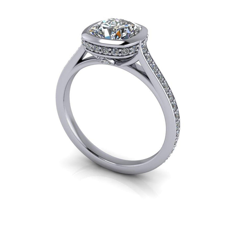 2.10 CTW Cushion Cut Moissanite Bezel Set Engagement Ring, DEF Color-Bel Viaggio Designs
