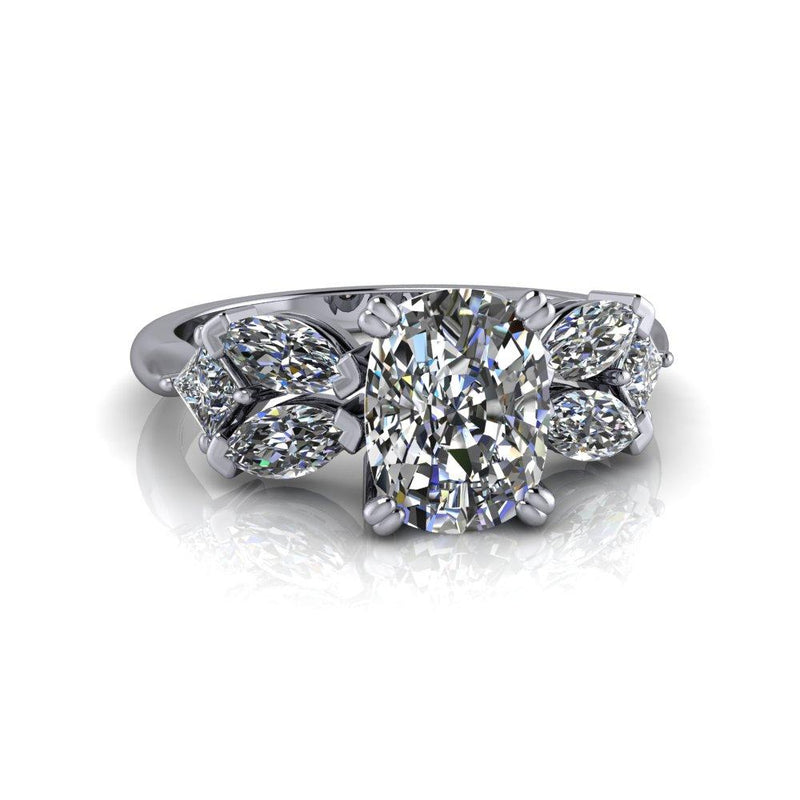 2.10 ctw Elongated Cushion Cut Colorless Moissanite Engagement Ring or Anniversary Ring-Bel Viaggio Designs