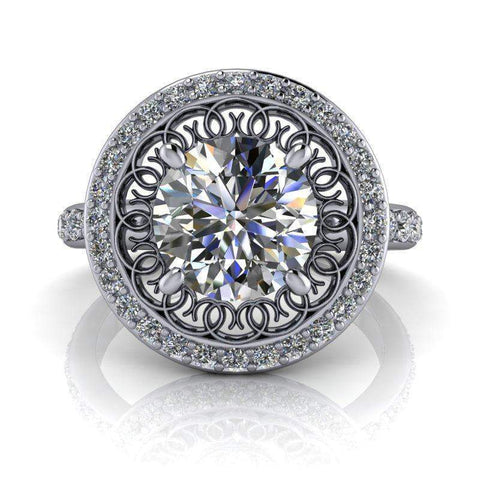 2.10 CTW Stacy K Opulence Limited Edition Forever One Moissanite Halo Engagement Ring-Bel Viaggio Designs, LLC