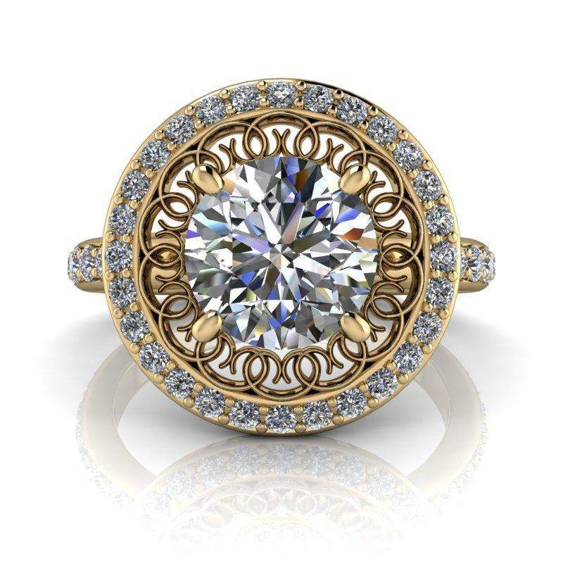 2.10 CTW Stacy K Opulence Forever One Moissanite & Diamond Halo Engagement Ring-Bel Viaggio Designs