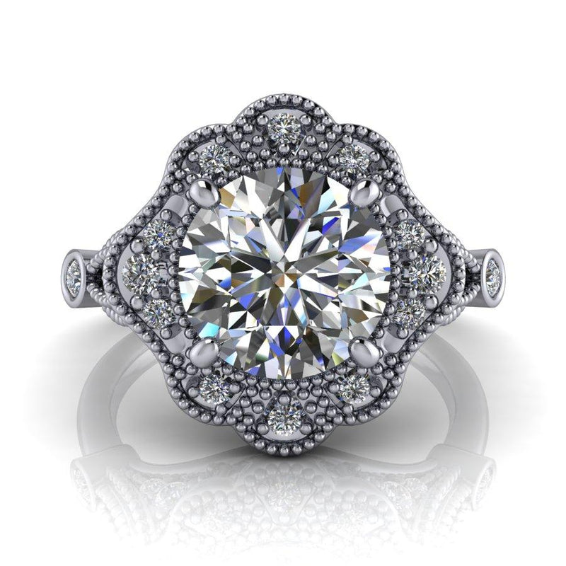2.11 ctw Forever One Moissanite Vintage Style Halo Engagement Ring-Bel Viaggio Designs