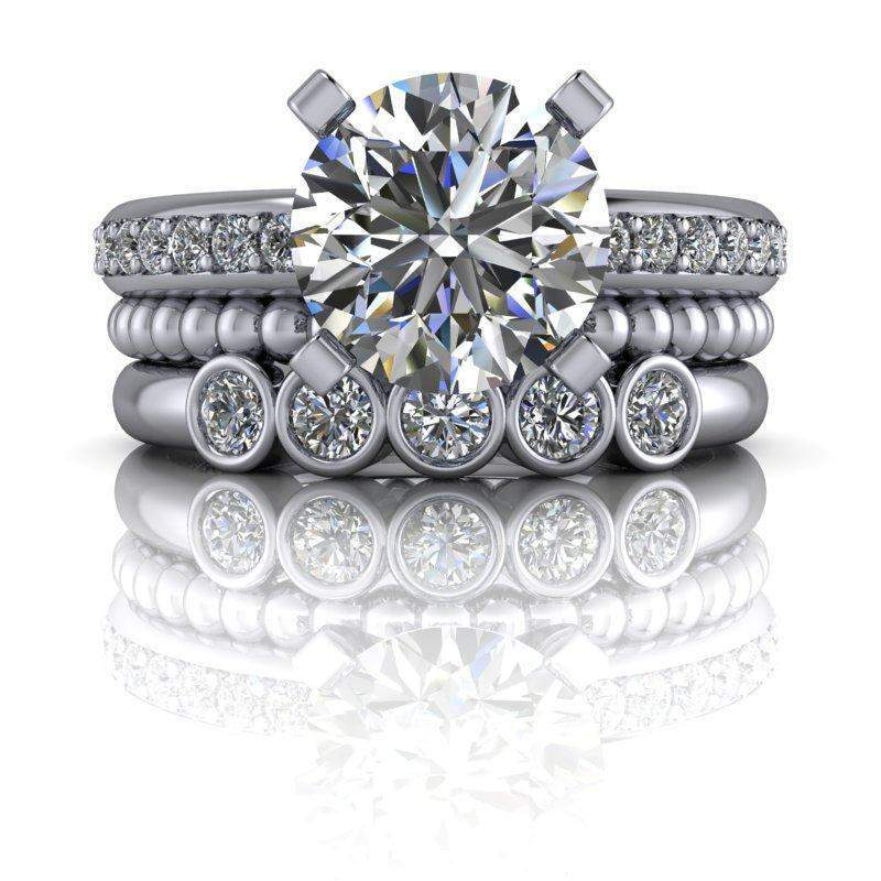 2.13 CTW Lab Grown DIamond & Moissanite Engagement Ring Bridal Set-Bel Viaggio Designs