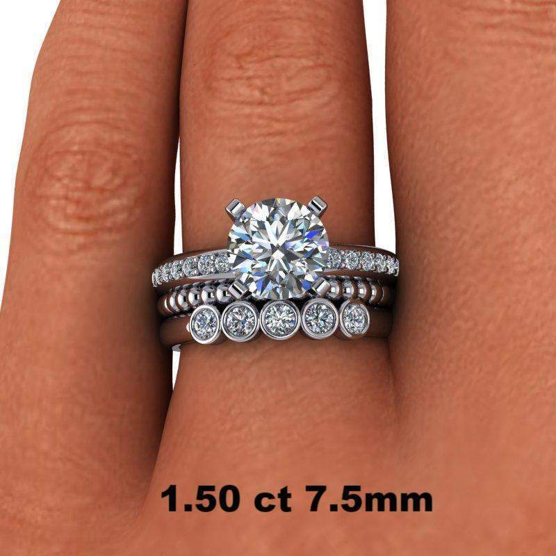 2.13 CTW Round Solitaire Moissanite Engagement Ring, Wedding Bands-BVD