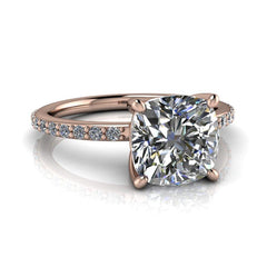 2.14 ctw Cushion Cut Forever One Moissanite Engagement Ring-BVD