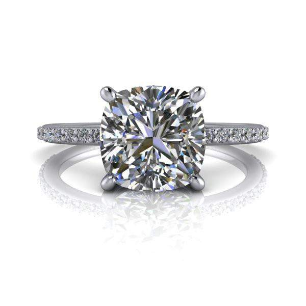 2.14 ctw Diamond Engagement Ring - Cushion Cut Forever One Moissanite Ring-BVD