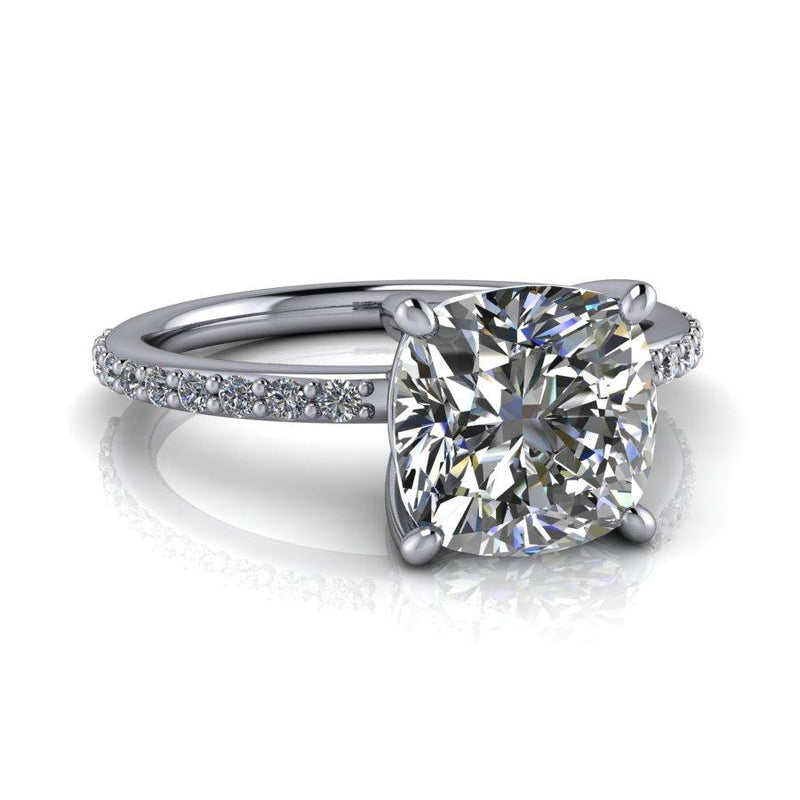 2.14 ctw Cushion Cut Forever One Moissanite Engagement Ring-Bel Viaggio Designs