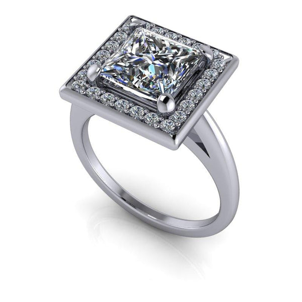 2.14 CTW Princess Cut Forever One Moissanite Cathedral Halo Engagement Ring-Bel Viaggio Designs