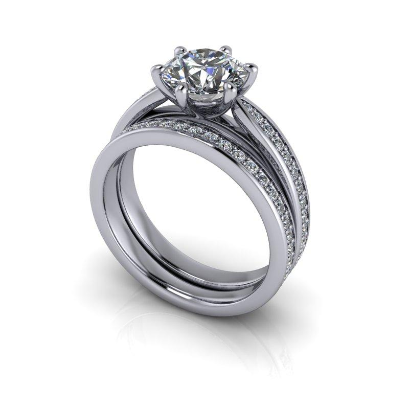 2.14 CTW Round Hearts & Arrows Moissanite Engagement Ring/Bridal Set-Bel Viaggio Designs