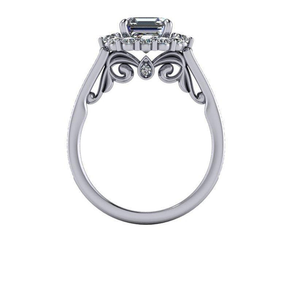 2.15 CTW Asscher Cut Forever One Moissanite Halo Bridal Set-BVD