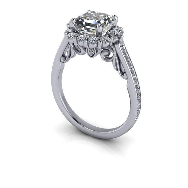 2.15 CTW Asscher Cut Forever One Moissanite Halo Bridal Set-Bel Viaggio Designs